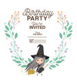 witch flying with floral decoration invitation vector image vector image