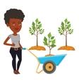 Woman pushing wheelbarrow with plant vector image vector image