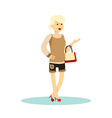 Fashion girl with bag Character cute woman smiling vector image