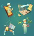 online doctor cartoon set vector image