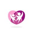 couple love people heart logo vector image