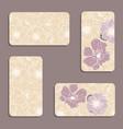 vintage floral visiting card set vector image