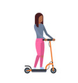 african girl riding electric kick scooter over vector image