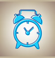 alarm clock sign sky blue icon with vector image
