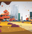 autumn urban park city skyline with yellow leaves vector image