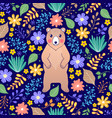 bear and flowers vector image