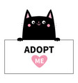 black cat head face hanging on paper board vector image vector image
