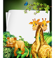 Border deisgn with giraffes and lion in the woods vector image vector image
