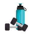 bottle water gym with weight icon vector image