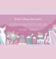 bridal shower accessories banner vector image vector image