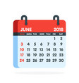 calendar for 2018 year full month of june icon vector image