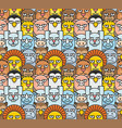 cartoon animals pattern seamless vector image vector image