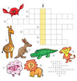 cartoon crossword game with cute cartoon african vector image vector image