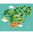 Cartoon map of North America vector image vector image