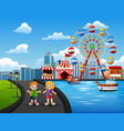 cartoon of happy kids playing outdoors with amusem vector image vector image