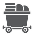 coins on mine trolley glyph icon finance money vector image vector image