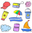 collection stock summer object doodles vector image vector image