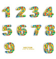 colored pixel geometric 3D numbers vector image vector image