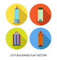 colorful business buildings flat icons set vector image