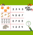 counting activity with animals vector image vector image