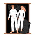 couple sleeping in bed top view vector image