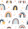 cute boho rainbows seamless pattern hand drawn vector image