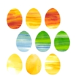 Easter set of watercolor colored eggs vector image vector image
