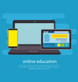 education on line with laptop vector image