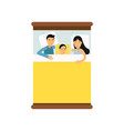 family couple sleeping on the bed with their son vector image