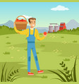 farmers man holding basket with fresh harvest of vector image vector image
