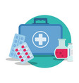 first aids kit emergency medical flat vector image vector image