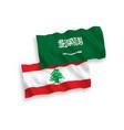flags saudi arabia and lebanon on a white