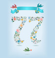 floral number seventy seven with ribbon and birds vector image vector image