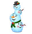 funny snowman composite consisting of heads vector image