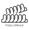 fusilli spirale pasta icon outline style vector image