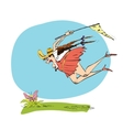 Girl naturalist catches the butterfly a net vector image vector image