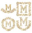 golden m letter ornamental monograms set heraldic vector image vector image