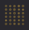 golden snowflakes icon on black background vector image