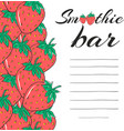 hand drawn restaurant menu elements smoothie bar vector image