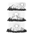 Hand drawn the mountains vector image