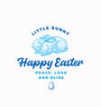 happy easter bunny abstract sign symbol or vector image