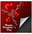 happy valentines day with red pattern background vector image