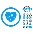 Heart Ekg Flat Icon with Bonus vector image vector image