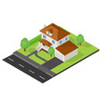 Isometric cottage icon vector image