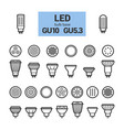 led light gu10 bulbs outline icon set vector image vector image