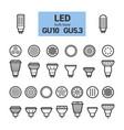 Led light gu10 bulbs outline icon set