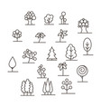 lined trees logo set vector image