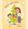 merry christmas poster mother gives present to son vector image vector image