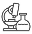 microscope line icon research vector image vector image