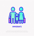 migrants thin line icon mother father and child vector image